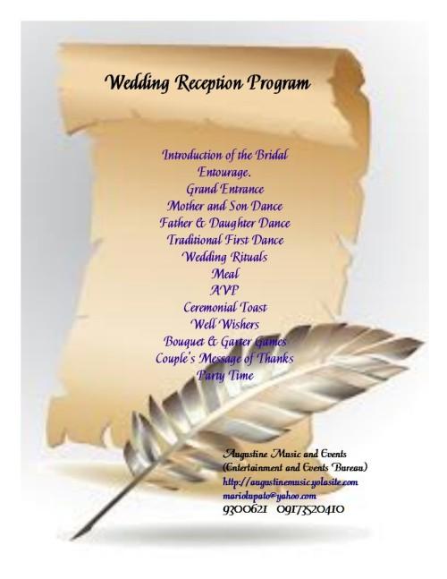 Simple Wedding Reception Program Philippines Invitationjpg
